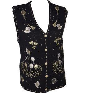 Bobbie Brooks New Years Vest small silver gold